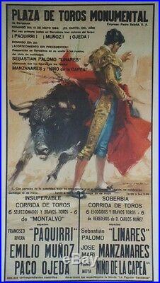 PLAZA DE TOROS MONUMENTAL 1984 Affiche originale entoilée BALLESTAR 58x100cm