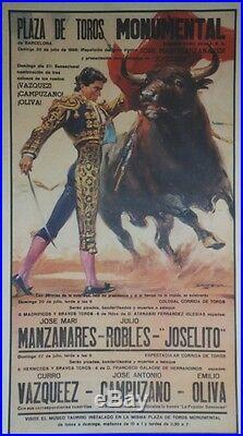 PLAZA DE TOROS MONUMENTAL 1986 Affiche originale entoilée BALLESTAR 58x100cm