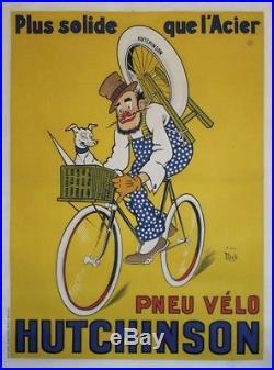 PNEU VELO HUTCHINSON Affiche originale entoilée Litho MICH 1929 122x162cm