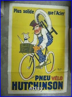 PNEU VELO HUTCHINSON affiche rémouleur à bicyclette MICH illustrateur