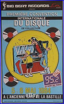 PREMIERE CONVENTION INTERNATIONALE DU DISQUE 1984 Affiche originale entoilée