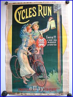 pub affiche ancienne 1900 cycles run de chaume velo bicyclette poster publicite. Black Bedroom Furniture Sets. Home Design Ideas