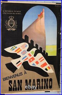 PUPPO Affiche ancienne BIENVENUS À SAN MARINO circa1950