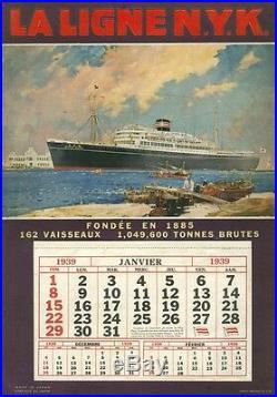 Paquebot NITTA MARU Carton-calendrier original 1939 Frank H MASON 29x41cm