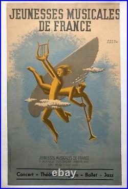 Paul Colin Rare Affiche Originale Jeunesses Musicales De France 1945