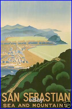 Peinado 1934 Spain Espagne San Sebastian Affiche Ancienne Sea And Mountains