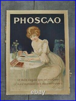 Phoscao AFFICHE ANCIENNE ORIGINALE CHOCOLAT PUBLICITAIRE
