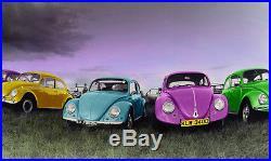 Photographique affiche de vieux style VW beetles in line, neuf
