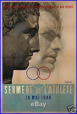 Pierre Boucher Affiche Ancienne Sport Sous Occupation Serment De Lathlète 1944