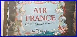 Planisphere Air France Preceval A Paris Original 300 Exemplaires 93,5 CM Par 56