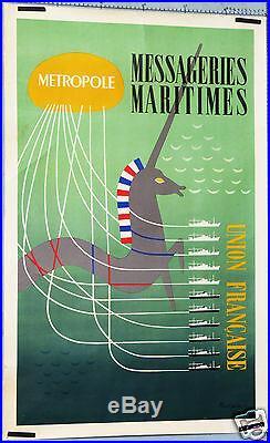 Poulain Affiche Ancienne Messageires Maritimes Licorne Union Francaise CI 1950