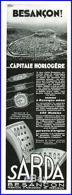 Publicité Ancienne Bijoux Montres Sarda Besançon 1933 (P. 1)