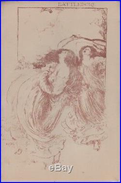 R. A. BELL BATTLEDORE (BADMINTON PLAYERS) Litho originale THE STUDIO 1896