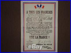 Réimpression selon Original a LONDRES Rare Affiche appel du Général De Gaulle