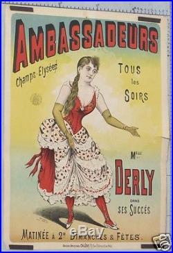 R26 AFFICHE ANCIENNE CIRQUE CABARET AMBASSADEURS. Champs Elysées Mlle DERLY