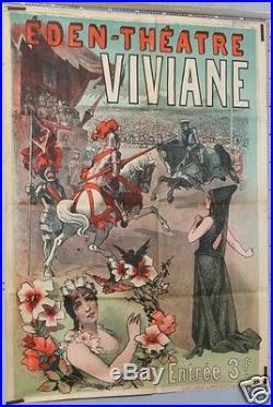 R37 AFFICHE ANCIENNE EDEN THÉTRE SPECTACLE VIVIANE CABARET ci 1895