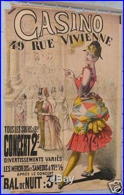 R53 CHOUQUET AFFICHE ANCIENNE CASINO rue Vivienne CONCERT et BAL de NUIT ci 1895