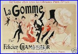 R87 AFFICHE ANCIENNE CHERET LA GOMME roman par Félicien CHAMPSAUR