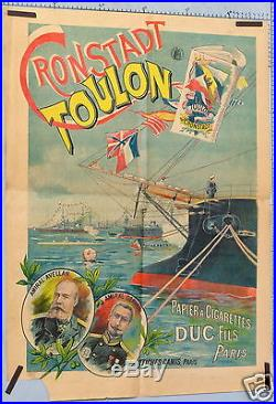 R95 AFFICHE ANCIENNE CRONSTADT- TOULON Papier à cigarettes DUC fils, à Paris