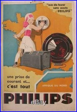 RADIO PHILIPS 1930 RENE VINCENT AFFICHE ORIGINALE CARTON HENRI FRANCOIS IMP