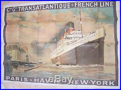 RARE AFFICHE ANCIENNE 1910 D A SEBILLE CIE GENERALE TRANSATLANTIQUE SS FRANCE