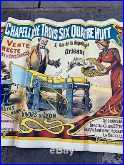 RARE AFFICHE ANCIENNE Chapellerie Trois Six Quatre Huit NO AIR FRANCE 1900