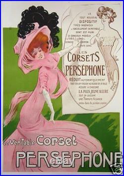 RARE AFFICHE ANCIENNE de MISTI LE CORSET PERSEPHONE Circa 1900