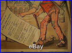 RARE AFFICHE Originale Lithographie Politique Conservateurs Républicain 1885 XIX