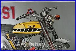 RARE AFFICHE POSTER YAMAHA FS1 CUTAWAY SS50 moped 49 cc 1970 minibike mini moto