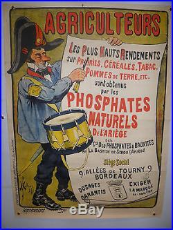 rare affiche publicitaire sign e malzac 1903 agriculteurs phosphates ari ge. Black Bedroom Furniture Sets. Home Design Ideas