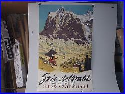 RARE ANCIENNE AFFICHE ORIGINALE SIGNEE C KOLLER GRINDELZVVALD STATION SKI SUISSE