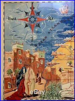 RARE Affiche Ancienne Originale Carte du MAROC par CARRIAT-ROLANT 1947