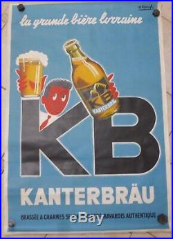 RARE Grande affiche originale ancienne bière KB illustrateur P. Raoul 1954