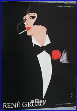 RENÉ GRUAU 1981 FEMME A L'OEILLET editions du desatre 80 x 60 CM AFFICHE