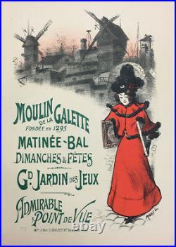 ROEDEL Litho originale Les Maîtres de l'affiche 1897 Pl 75 Moulin de la Galette