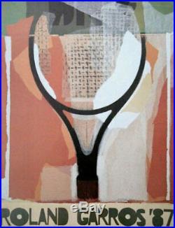 ROLAND GARROS 1987TENNIS BELLE AFFICHE ORIGINALE 53x80cm NEUVE sans défauts