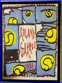 ROLAND GARROS 1988TENNIS BELLE AFFICHE ORIGINALE 53x80cm NEUVE sans défauts