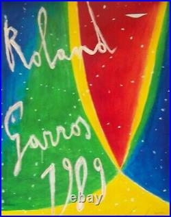 ROLAND GARROS 1989TENNIS BELLE AFFICHE ORIGINALE 53x80cm NEUVE sans défauts