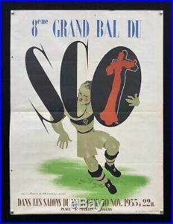 RUGBY S. C. O dAngers 1935 Affiche lithographiée signée Jean-Adrien Mercier