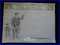Ramiro Arrue ancienne affiche avant lettre pour l'entrée du Musée Basque 1924