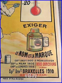 Rare 3.18 x 1.21 m Ancienne Affiche Publicitaire RIPOLIN Vavasseur thermomètre