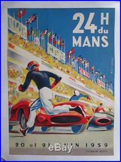 Rare Affiche 24 heures du Mans 20 et 21 Juin 1959 Beligond Course Automobile