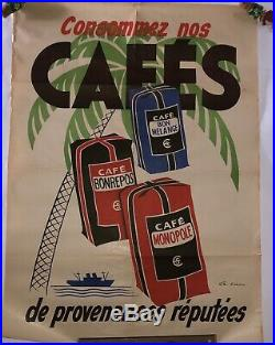 Rare Affiche Ancienne Café Publicitaire Signé Bistrot Épicerie