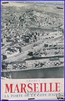 Rare Affiche Ancienne Port De Marseille Vue Générale