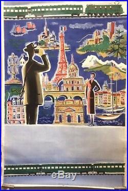 Rare Affiche Ancienne SNCF Hubert BAILLE 1953 Lithographie Originale