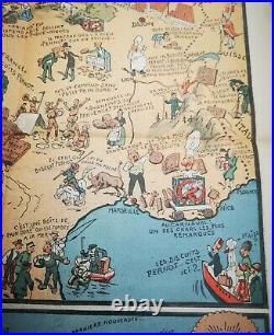 Rare Affiche BISCUITS PERNOT Carte Du Tour De France Algérie Illustrée PINCHON