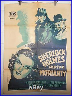 Rare Affiche Cinéma Originale 1938 Sherlock Holmes Contre Moriarty