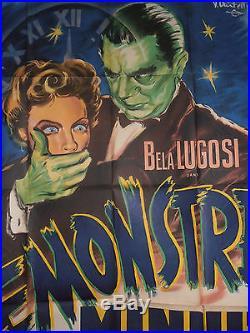 Rare Affiche Cinéma Originale / Film Noir 1942 Le Monstre De Minuit Bela Lugosi