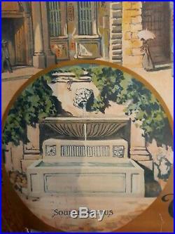 Rare Affiche Lithographique S N C F pour Aix en Provence entoilee