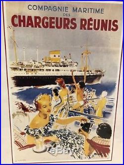 Rare Affiche Originale Ancienne Compagnie Maritime Des Chargeurs Réunis